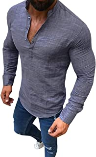 SMALLE ◕‿◕ Blouse for Men, Linen Long Sleeve V Neck Button Up Shirts Male Casual Business Fit Blouse