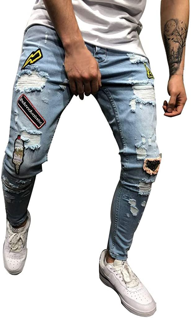 Beshion Men's Jeans Pants Stretch Slim Fit Denim Pants Straight Leg Skinny Hole Pocket Trousers Distressed Jogger Pants