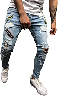 Men's Ripped Holes Jeans Comfort Skinny Distressed Destroyed Slim Fit Denim Pants Fashion Casual Stretch Biker Jeans