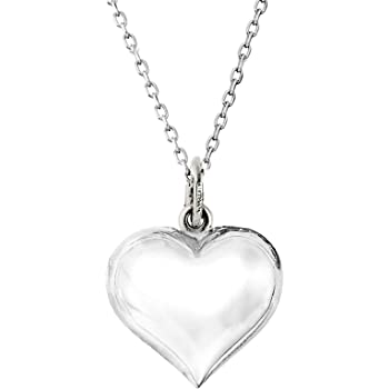 Sterling Silver Womens 1mm Box Chain MIMI Heart With Flower Pendant Necklace