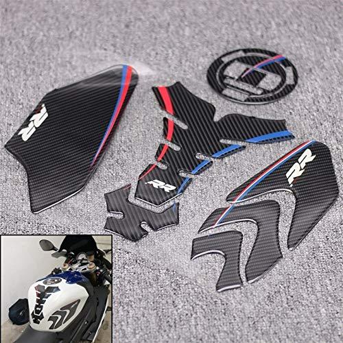 In fibra di carbonio 3D ADESIVI Sticker dell'emblema della decalcomania di protezione della copertura del serbatoio rilievo del Cas Cap for BMW S1000RR S1000R S1000 RR HP4 Adesivi (Color : 5)