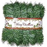 YQing 10 Metro Guirnalda de Navidad Decoracion, Navidad Pino Abeto Guirnalda Artificial Guirnalda Larga Verde Guirnalda Llana Festiva para Chimeneas, Escalera, Decoración de árbol de Navidad