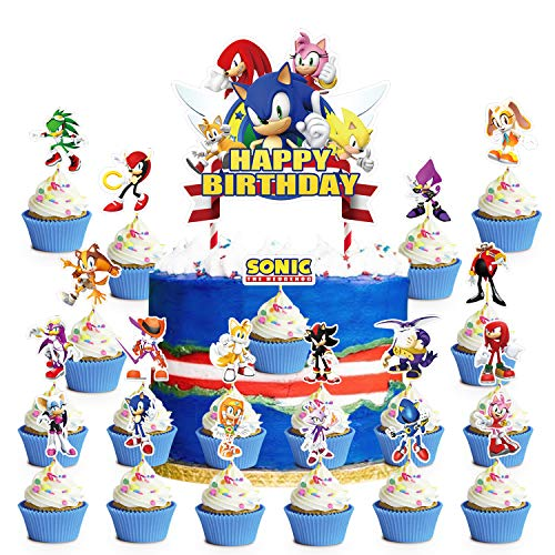 Decorations for Sonic Cake Topper Cupcake Toppers Birthday Party Supplies Decor for Children, 5 Characters