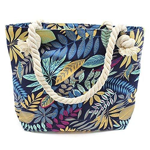 Ancient Wisdom Große Strandtasche mit Reißverschluss und Innentasche | Strandtasche, Einkaufstasche, Shopper für Damen, Schultertasche - Teal and Blue Flowers