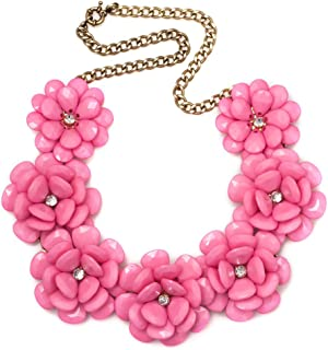 Colorful Chunky Flower Bib Choker Statement Necklace for Women
