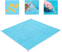 GEMGO Sand-Free Beach Blanket Mats, Waterproof Fast-Dry Magic Sandless Rug with 4 Stake Anchors, Portable Dirt Dust Proof for Outdoor Beach Picnic Camping