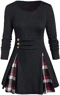 FANFU Women Plus Size Tops Tunic Tee Buttoned Plaid Print Long Sleeve T Shirt