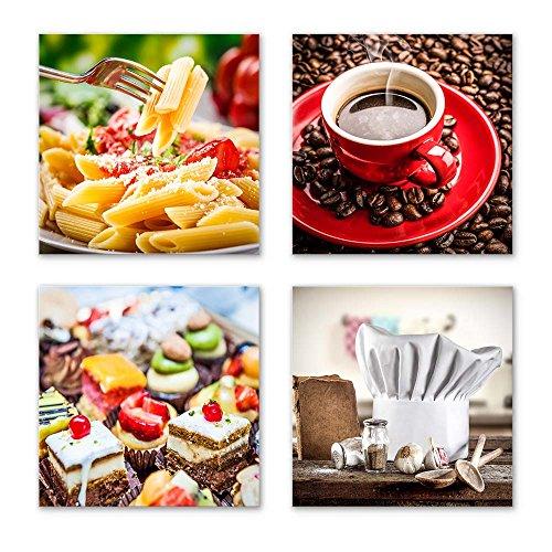 Küchen Bilder Set E schwebend, 4-teiliges Bilder-Set jedes Teil 29x29cm, Seidenmatte Optik auf Forex FineArt Print, Moderne Optik, UV-stabil, wasserfest, Deko für Büro, Wohnzimmer, Kaffee Obst Wein