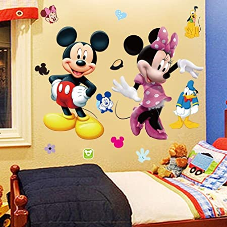 MICKEY.MINNIE MOUSE LARGE PEEL// STICK WALL DECAL DECORATION NEW 14 L X 21.5 WIDE