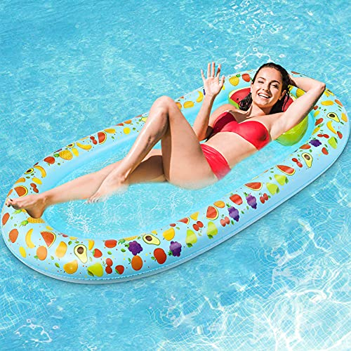 Jojoin Wasser Hängematte, 178CM * 94CM Aufblasbare Pool Liege Float Schwimmmatte mit Exquisitem Fruchtmuster und Wassermelonen Kissen, Loungesessel Luftmatratze Pool Spielzeug für Erwachsene Kinder