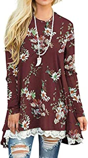 New in HAALIFE◕‿ Women's Casual Loose Long Sleeve plaisy Floral Tunic Top Special Lace Casual Hem Blouse