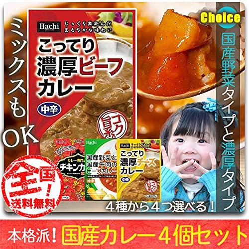 レトルトカレー 選べる 詰め合わせ 4個 セット 非常食 甘口 中辛 辛口 Hachi ハチ食品 (j.濃厚チーズ2個&インド風チキン2個)