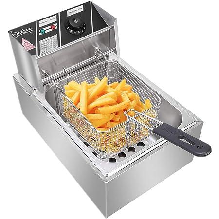 2500W 6.3QT Electric Countertop Deep Fryer Dual Tank Commercial Restaurant UK