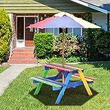 COSTWAY Set con Tavolo Picnic di Legno e ombrellone per Bambini, Tavolo e panchina con 4 p...