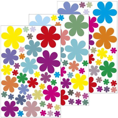 Adesivi da parete ' con Design floreale 2,54 cm - 114 adesivi su 3 fogli DIN A4 - adesivo decorativo/muro adesivo/adesivo per cameretta dei bambini/soggiorno/camera da letto o come regalo