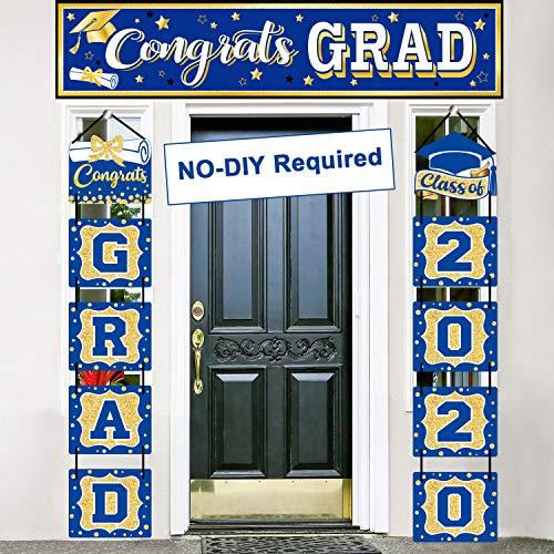 2020 Graduation Banner Set Blue Graduation Party Decoration Porch Sign Grad Party Supplies, Class of 2020 Congrats Grad for College High School (Blue and Gold)