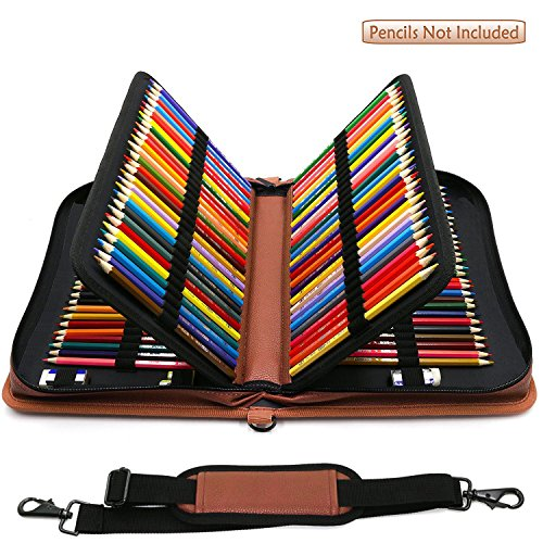 YOUSHARES 160 Slots Pencil Case - PU Leather Large Capacity Zipper Pen Bag with Adjustable Strap for Prismacolor Watercolor Pencils, Crayola Colored Pencils, Marco Pens and Cosmetic Brush (Brown)