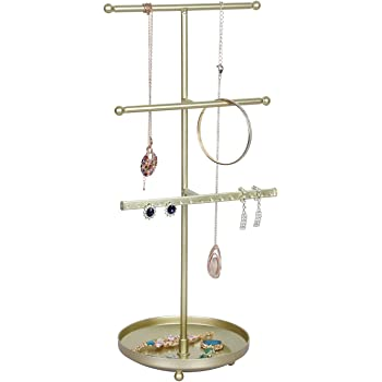 OROPY 3 Tier Jewelries Tower Organizer - Tabletop Gold Necklaces Holder Stand with Round Tray for Bracelets, Rings, Earrings