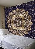 Aakriti Gallery Wandteppich in Queen-Größe,, ombriert, Hippie-Wandteppich, mit psychodelischem. kompliziertem Mandala-/Boho-Muster; indische Tagesdecke, 234 x 208 cm Blau-Gold. - 3