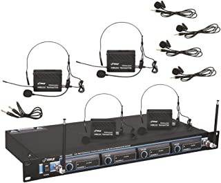 4 Channel Wireless Microphone System - Professional VHF Audio Mic Set with 1/4