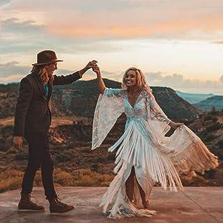 ztmyqp Simplicidad Elegante Vestido de Novia Único Nupcial Gypsy Hippie Bohemio Simplicidad Elegante Vestido de Novia Mang...