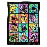 Sesame Street Blanket, 30'X40', Hand Drawn Squares Ultrasoft Fleece Baby Blanket