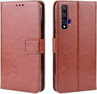 YEZHU Huawei Nova 5T / Honor 20 / Honor 20S ケース高品質PUレザーカバー 超薄型 最軽量スタンド機能付ケース (Huawei Nova 5T ブラウン)