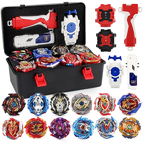 JIMI Bey Battling Top Burst Gyro Toy Set 12 Spinning Tops 3 Launchers Combat Battling Game with Portable Storage Box Gift for Kids Children Boys Ages 6+