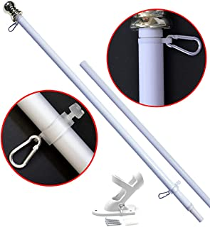 American Signature 5ft Flag Pole and Bracket Holder Kit: Includes Aluminum Tangle Free Spinning Flagpole with Carabiners and Outdoor Wall Mount Bracket (White, 5`)