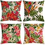 7COLORROOM Set of 4 Tropical Leaves Throw Pillow Covers Parrot &Turtle Leaf &Red Flower Pattern Pillowcases Home Decorative Cotton Linen Cushion Covers 18 X 18 Inch (Parrot)