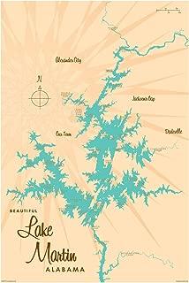 Lake Martin Alabama Vintage-Style Map Art Print Poster by Lakebound (24