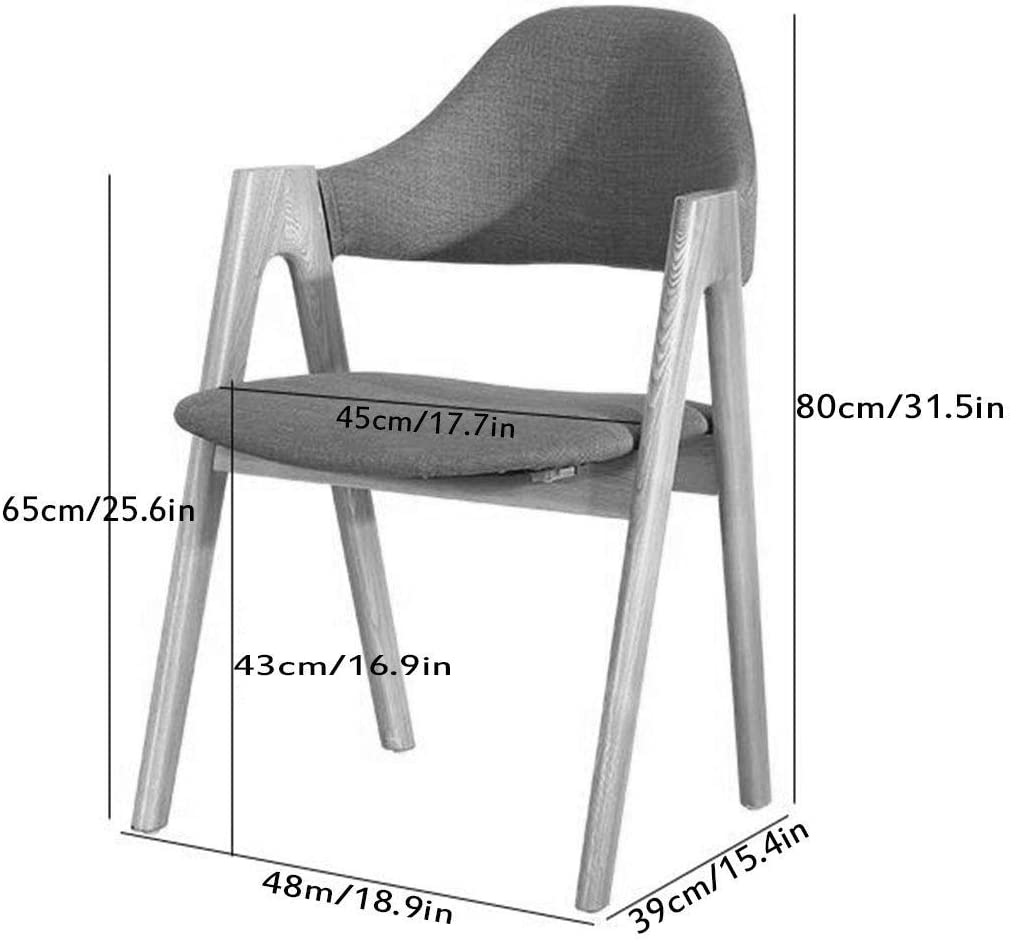 QX Chaises de Chaise À Manger Accent de Bras En Tissu de Coton Et de Lin Vintage Pour Cuisine de Salon Avec Pieds En Bois Massif, Avec Dossier Et Siège de Coussin En Tissu,# 3 # 2
