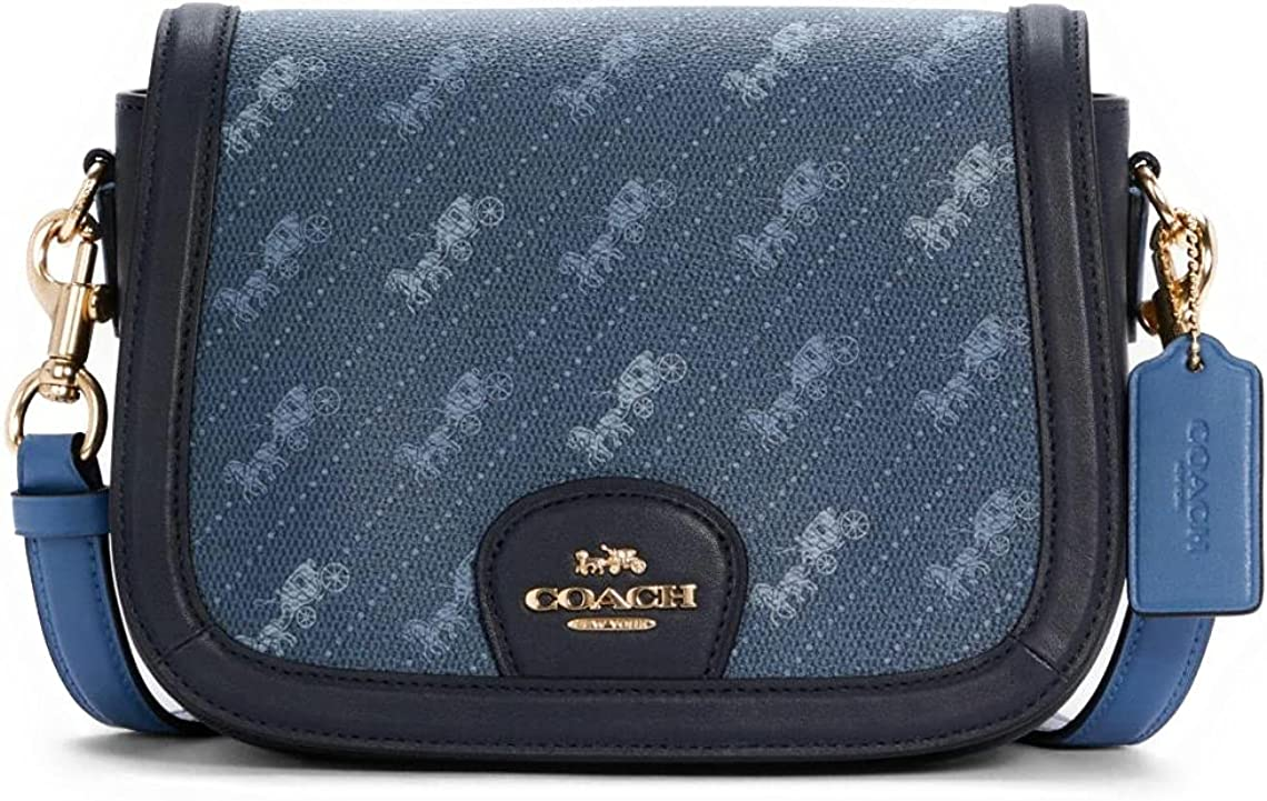 COACH Womens Saddle Bag With Horse And Carriage Dot Print IM/Denim
