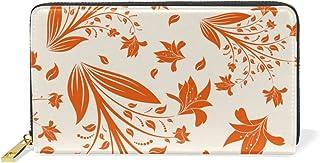 旅立の店 長財布 人気 レディース メンズ 大容量多機能 二つ折り ラウンドファスナー 本革  花柄 オレンジ色 ウォレット