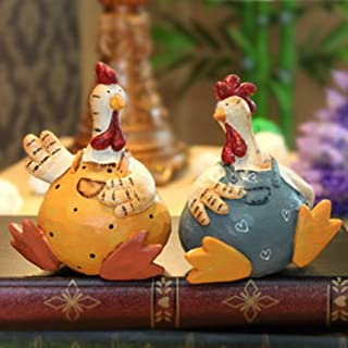 XDH-RTS 2PC/Set Resin Crafts Statue Funny Welcome Chicken Sculpture Home Garden Decorate Handcraft Gift