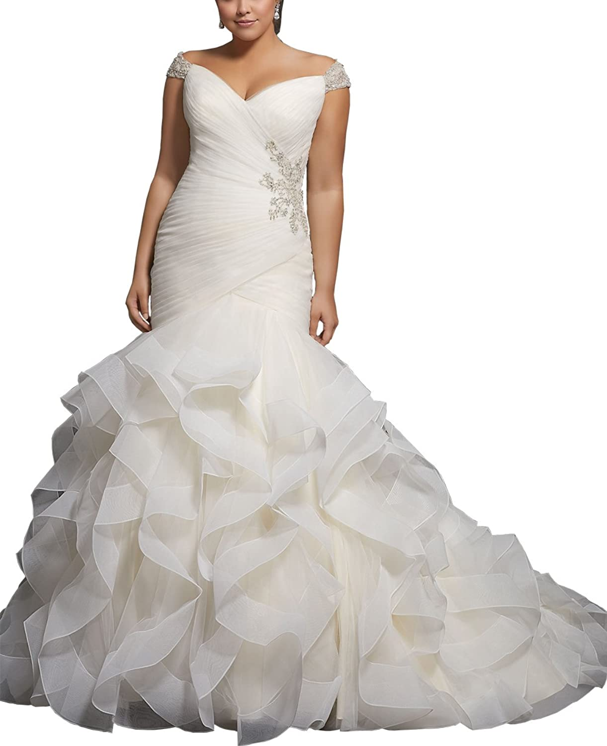 Now and Forever Women's Beaded Cap Sleeve Mermaid Wedding Dress Pleat Ruffles Bridal Gown