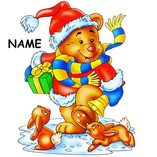 alles-meine.de GmbH 3 Stück _ XL Fensterbilder -  Teddy mit Geschenk & Hasen  - incl. Name - 37 cm ! - statisch haftend - selbstklebend + wiederverwendbar / Weihnachten - Stick..