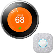Nest Learning Thermostat (3rd Gen, Stainless Steel) Bundle with Protect Wired Smoke and Carbon Monoxide Alarm (White, 2nd ...
