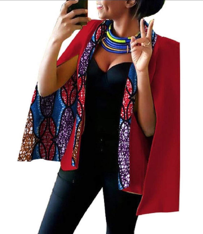 Qiangjinjiu Women's African Dashiki Floral Print Cape Jacket Coat Lapel Split Blazer