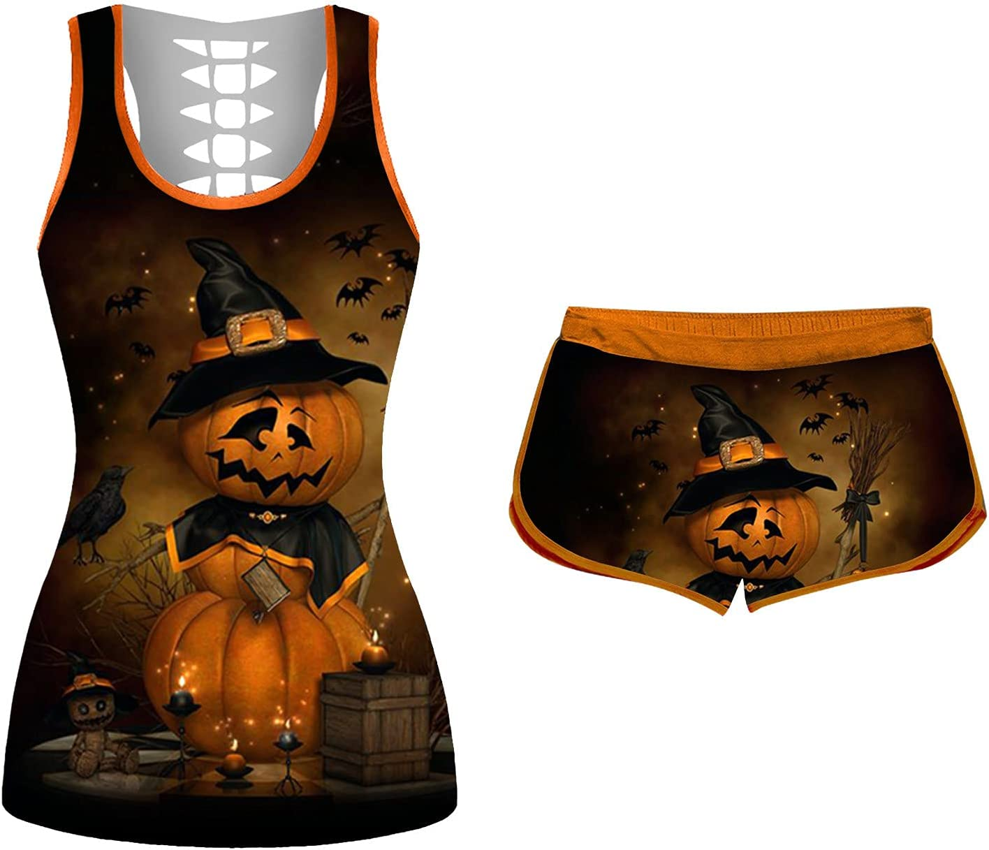 Smileyth High material Women's 2 Piece Outfits Costumes Pumpkin sold out Halloween Prin