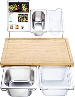 Extensible Bamboo Cutting Board Set with 4 Containers for Kitchen with Juice Groove, Eco-friendly Chopping and Serving Boa...