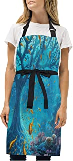 YIXKC Apron Coral Tree in The Ocean Adjustable Neck with 2 Pockets Bib Apron for Family/Kitchen/Chef/Unisex