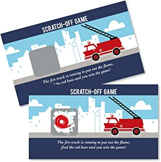 Big Dot of Happiness Fired Up Fire Truck - Firefighter Firetruck Baby Shower or Birthday Party Game Scratch Off Cards - 22 Count