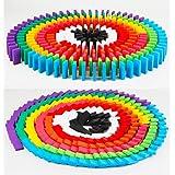 12色 200個 ドミノ倒し 積み木 知育玩具 天然木製 おもちゃ カラフル こども 誕生日 プレゼント 収納袋つき