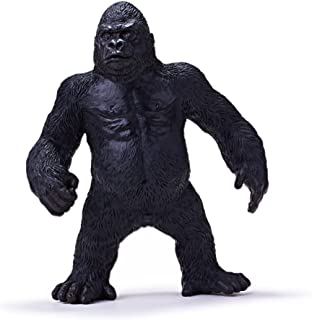 RECUR Toys Standing Gorilla King Kong Toys 6.2 inch, Wildlife Animal Lifelike Ape Soft Hand-Painted Skin Texture Toys for Kids, Realistic Western Lowland Gorilla Replica Figurines for Collectors 3+