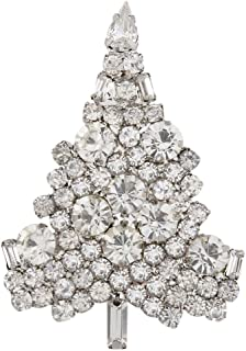 Women's Austrian Crystal Art Deco Daily Christmas Tree Brooch