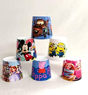 Shopkooky Multipurpose Cartoon Printed Travelling Plastic Cups for Kids (Pack of 6)
