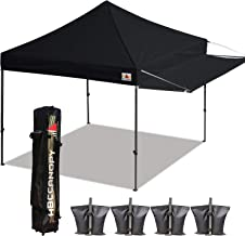 ABCCANOPY 10x10 Tent Pop-up Canopy Tent Instant Canopies Commercial Outdoor Canopy with Awning & Wheeled Carry Bag Bonus 7X Weight Bag, (Black)