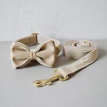 Stof halsband leiband set voor middelgrote grotehuisdier ketting met vlinderdas kaki fluwelen ketting, boog kraag leiba...