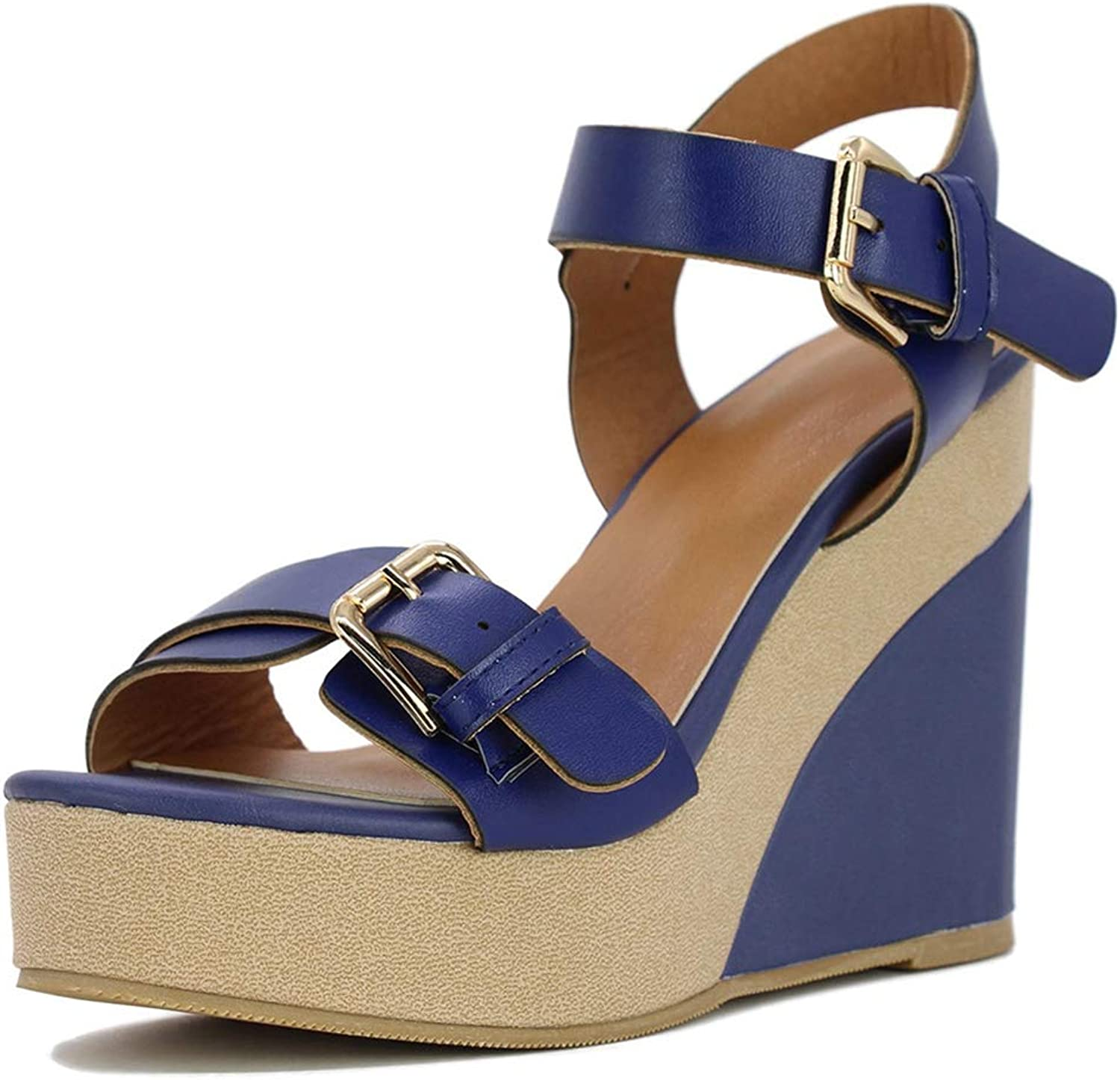 Pophight 2019 New Women's Flock Ankle Strap Square high Heels Round Toe Solid shoes Woman Casual Summer Sandals Big Size 10 11 42